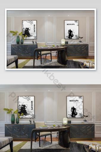 新中式豪宅臥室壁畫牆貼海報樣機 模板 PSD