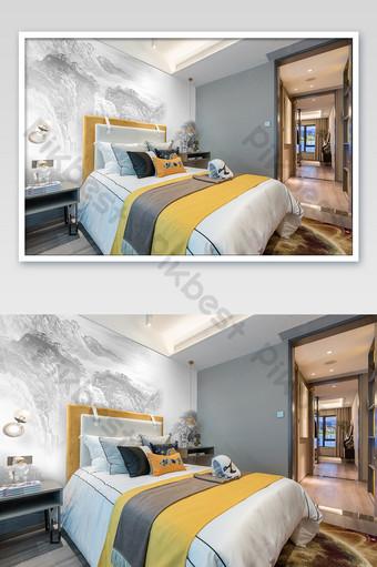 高檔輕豪華新中式臥室壁畫牆畫壁紙海報樣機 模板 PSD