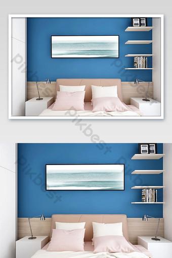 morandi顏色臥室床頭橫幅裝飾畫樣機 模板 PSD