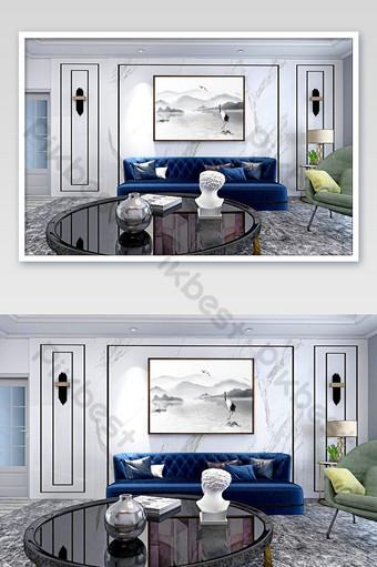 غرفة المعيشة الخفيفة والفاخرة أريكة خلفية الجدار رائعة اللوحة الزخرفية بالحجم الطبيعي قالب PSD