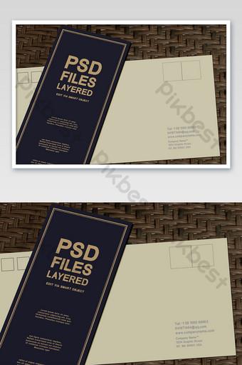 مغلف رسالة دعوة ملصق ملصق يظهر اللوازم المكتبية بالحجم الطبيعي قالب PSD