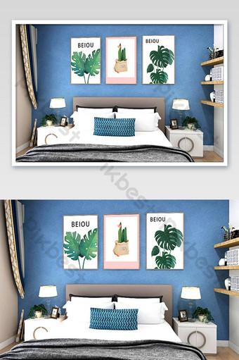現代北歐臥室床頭簡約裝飾畫樣機 模板 PSD