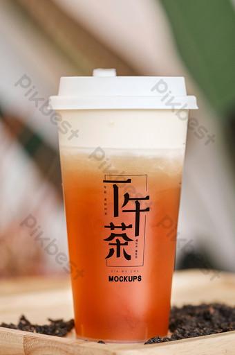 bebida gorra de leche bebida gourmet tienda de té logotipo pantalla empaquetado maqueta Modelo PSD