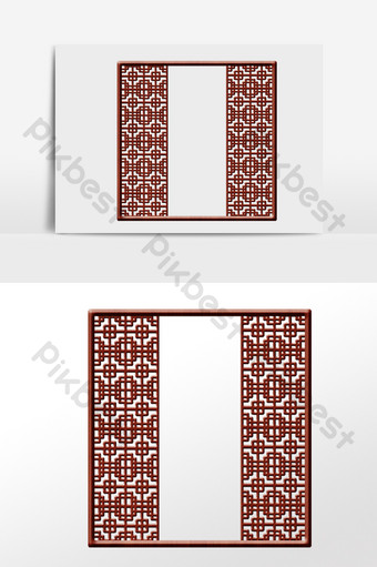 drawing chinese style retro hollow window frame screen illustration PNG Images Template AI