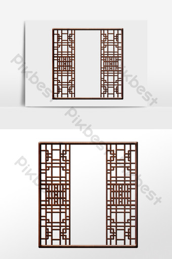 drawing chinese style retro antique window frame screen illustration PNG Images Template AI