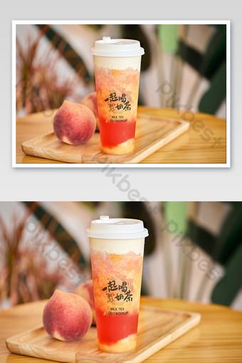 melocotón fruta fresca té jugo gourmet leche tienda logo empaquetado maqueta Modelo PSD