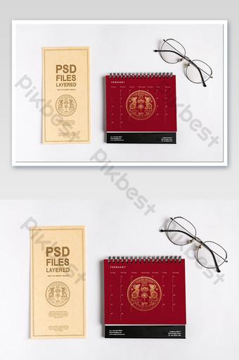 مكتب التقويم بطاقات المعايدة دعوة ملصق اللوازم المكتبية بالحجم الطبيعي قالب PSD