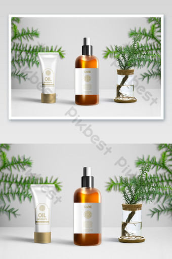 Small fresh skin care product series set emulsion squeeze bottle packaging mockup Template PSD