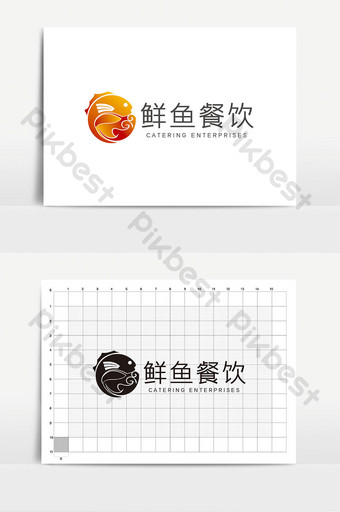 fashion fish graphic catering seafood logo sign Template AI