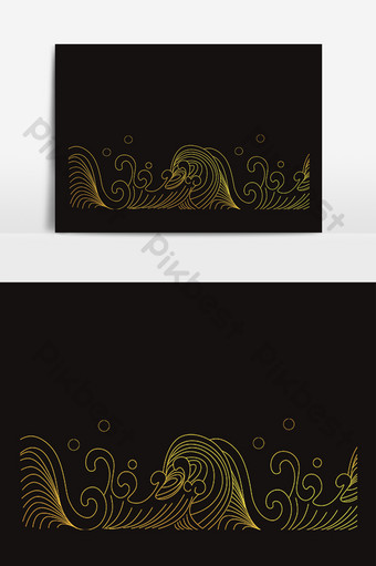 Golden sea wave spray water pattern PNG Images Template PSD