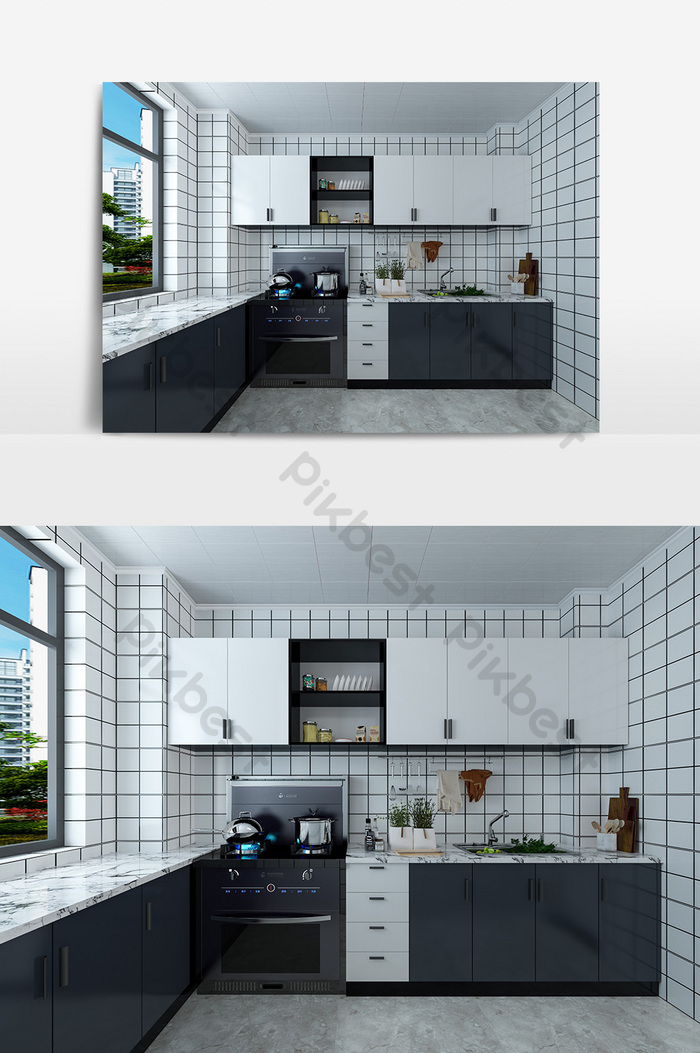 Personalized Custom Modern Minimalist Black And White Kitchen Cabinets Decors 3d Models Max Free Download Pikbest