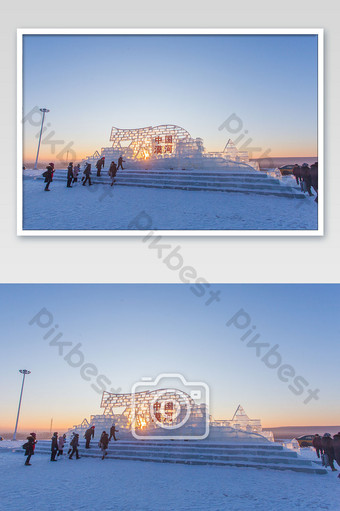 Blue northern ice sculpture winter snow photography pictures Photo Template JPG