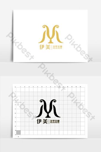 vector abstracto m carta elegantes pestañas logotipo de salón de uñas Modelo AI