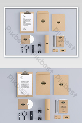 textura de papel kraft arte retro empresa vi prototipo Modelo PSD