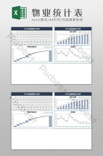物業公司數據統計表excel模板 Excel模板 模板 XLSX