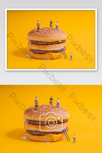 Delicious and tempting burger fries fast food photography pictures Photo Template JPG
