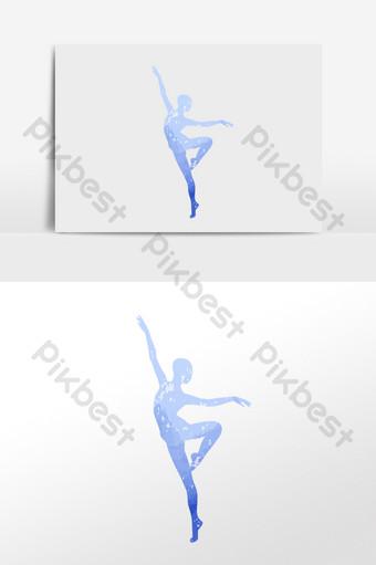 跳舞的女孩優美的舞蹈剪影 元素 模板 AI