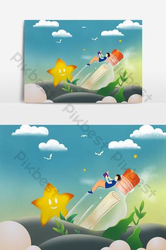 中國風卡通手繪五四青年節元素 元素 模板 PSD