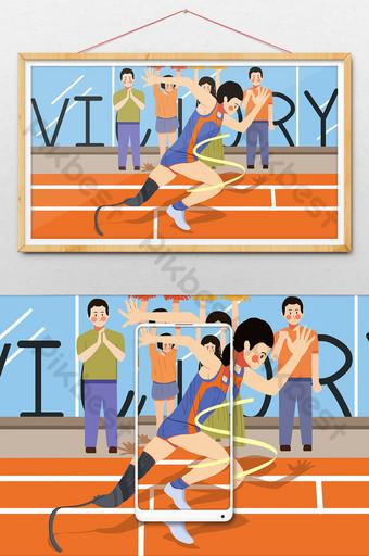 Ilustración de una persona discapacitada corriendo en la pista Ilustración Modelo PSD