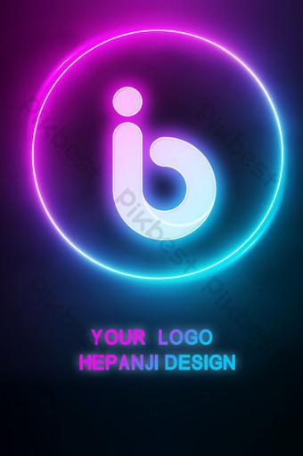 الإبداعية الملونة النيون كلمة مضيئة شعار بالحجم الطبيعي قالب PSD