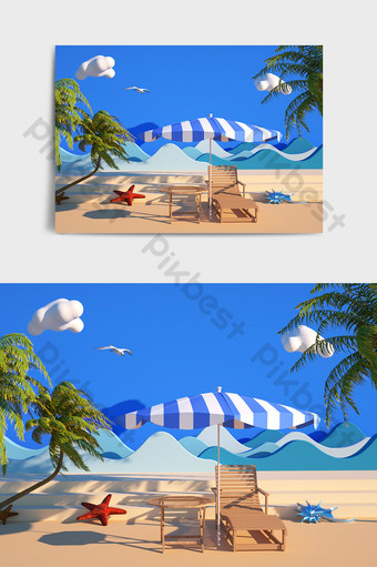 Summer seaside style C4D e-commerce poster design display scene Decors & 3D Models Template C4D