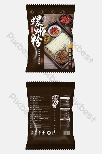 Dark, high-end, simple, style and delicious snail powder food packaging design Template PSD