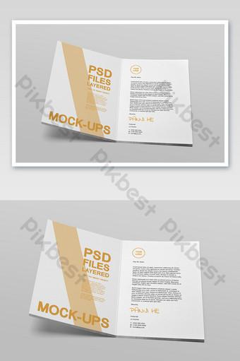 افتح تصميم الصفحة الداخلية للكتيب تتكشف النموذج الأولي لكتيب الصورة العمودي A4 قالب PSD
