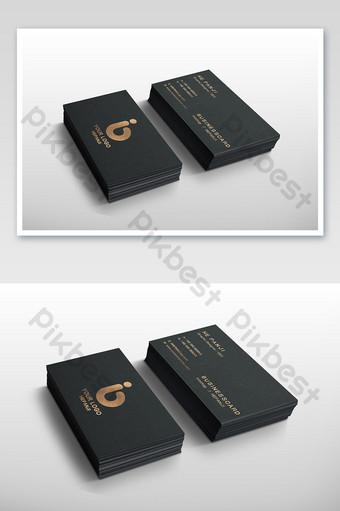 Maquette de fournitures de bureau de conception de carte de visite d'estampage à chaud de papier spécial noir Modèle PSD