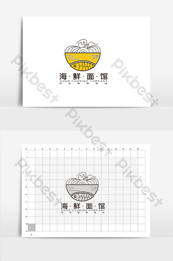 high end creative seafood noodle restaurant catering logo Template AI