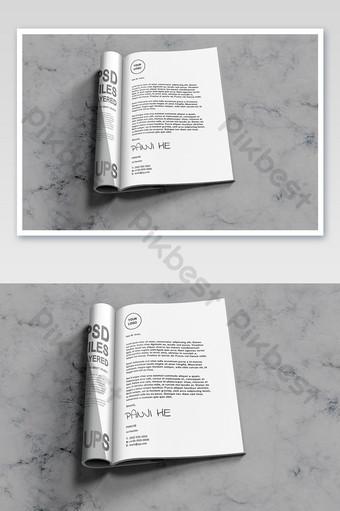 كتاب كتيب مجلة تصميم الصفحة الداخلية للطي نشمر كتيب بالحجم الطبيعي قالب PSD