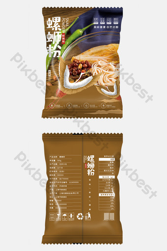Simple style national style illustration snail powder food packaging design Template PSD