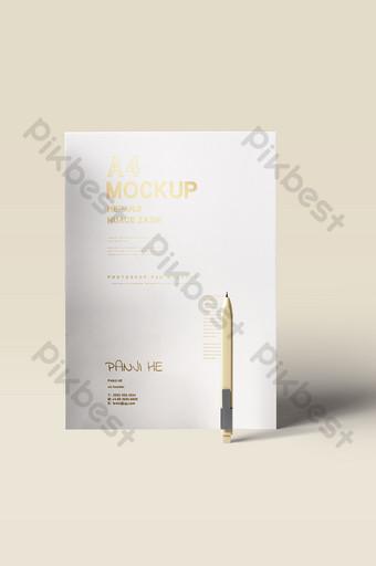 Mettre en place une maquette de fournitures de bureau affiche de dépliant de contrat de document papier A4 Modèle PSD