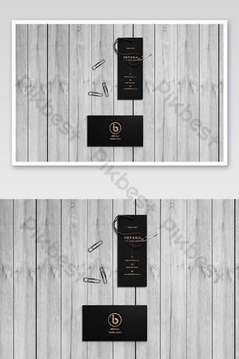 Maquette de fournitures de bureau de carte de visite d'étiquette de logo de magasin de vêtements personnalisé noir Modèle PSD