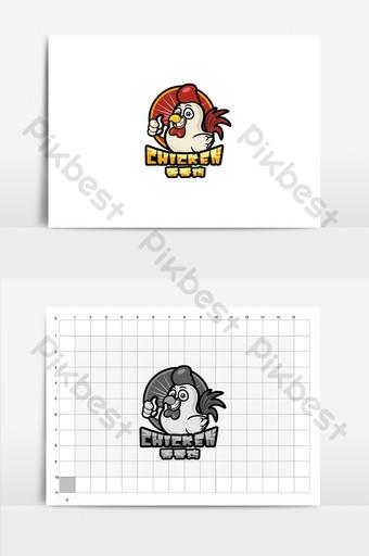 vector de dibujos animados pollo frito gourmet logo signo Modelo AI