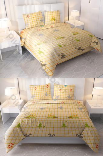 شبكة الكرتون صفراء صغيرة جديدة طباعة ورقة السرير أربع قطع الديكور والنموذج قالب PSD