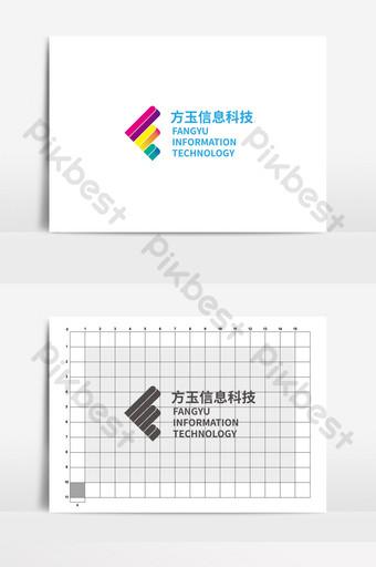 logo teknologi informasi fangyu sederhana Templat AI