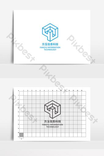 garis sederhana logo teknologi informasi fangyu Templat AI
