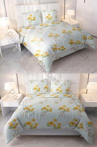 الحديثة بسيطة صغيرة زهرة صفراء أغطية السرير الطباعة مجموعة أربع قطع الديكور والنموذج قالب PSD