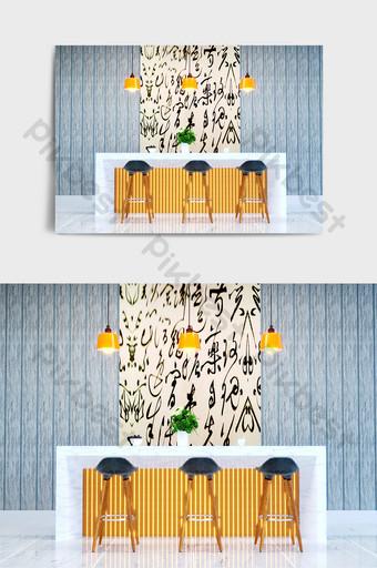mármol luminoso grano de madera simple barra diseño herramientas representaciones Decoración y modelo Modelo C4D