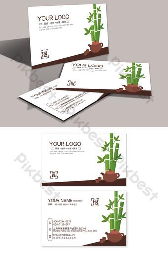 Simple bamboo leaf tea set art house business card Template PSD