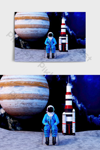 C4D astronaut seated image IP model renderings in outer space Decors & 3D Models Template C4D