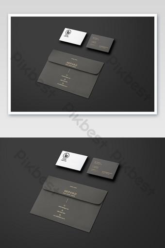 Maquette de fournitures de bureau bronzante de carte de visite d'enveloppe de sens de la nature unique noire Modèle PSD
