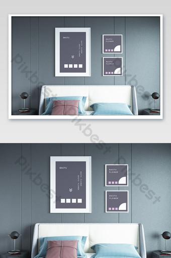 غرفة نوم رائعة خلفية الجدار الديكور اللوحة بالحجم الطبيعي قالب PSD