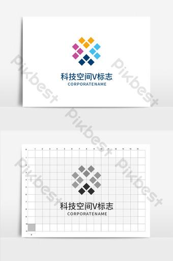 tech space mosaico letra v logo Modelo AI