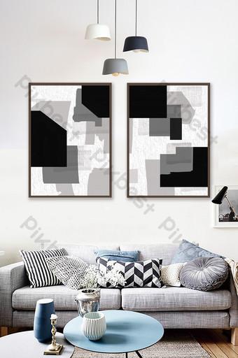 هندسي أبيض وأسود رمادي الشمال غرفة المعيشة الديكور اللوحة الديكور والنموذج قالب PSD