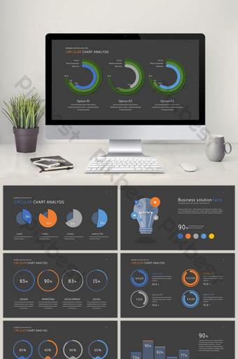 kumpulan analisis data bagan lingkaran template ppt PowerPoint Templat PPTX