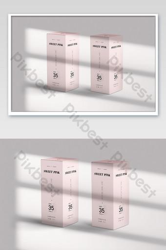 Hộp bao bì nhãn dán mockup dưới ánh sáng cửa sổ và bóng Bản mẫu PSD