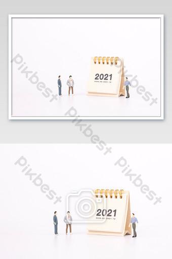 Calendrier de bureau 2021 personnes à l'échelle micro carte photographie blanche créative La photographie Modèle JPG