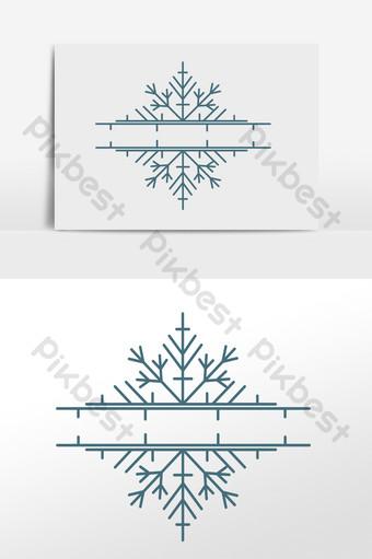 Línea divisoria de decoración de copo de nieve navideño Elementos graficos Modelo AI