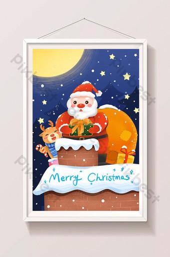 Nochebuena Santa Claus lanzando regalos en la ilustración de la chimenea Ilustración Modelo PSD